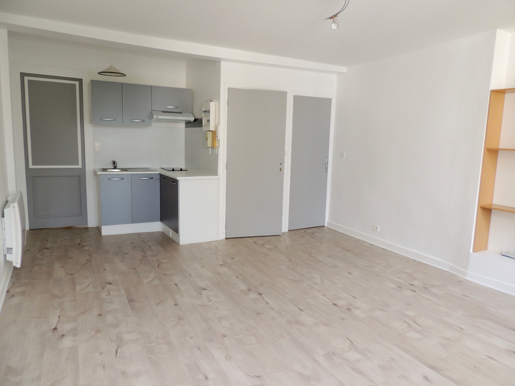 Appartement duplex à deux pas du centre ville de Villeneuve sur Lot, très lumineux. En entrant salon cuisine de 24,33 m2 puis salle d'eau, à l'étage chambre mansardée de 15,89 m2. Double vitrage PVC, chauffage électrique.