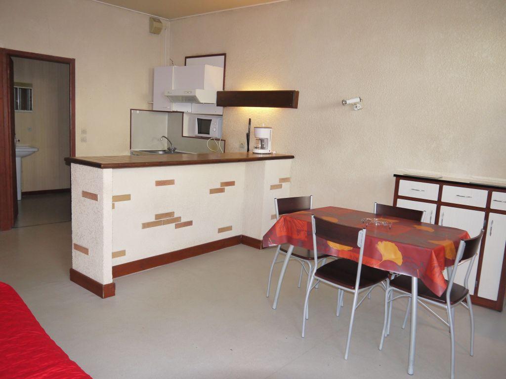VILLENEUVE SUR LOT, au deuxième étage, studio meublé d'environ 30,06 m2.  L'appartement comprend une pièce de vie avec coin cuisine, un esalle d'eau avec WC. Chauffage électrique, double vitrage PVC.